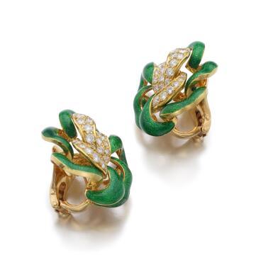 PAIR OF ENAMEL AND DIAMOND EAR CLIPS | M. GÉRARD
