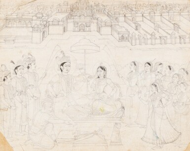 View 3. Thumbnail of Lot 70. INDE, RAJASTHAN AND PAHARI SCHOOLS, 19TH CENTURY   A DRAWING AND THREE MINIATURES.
