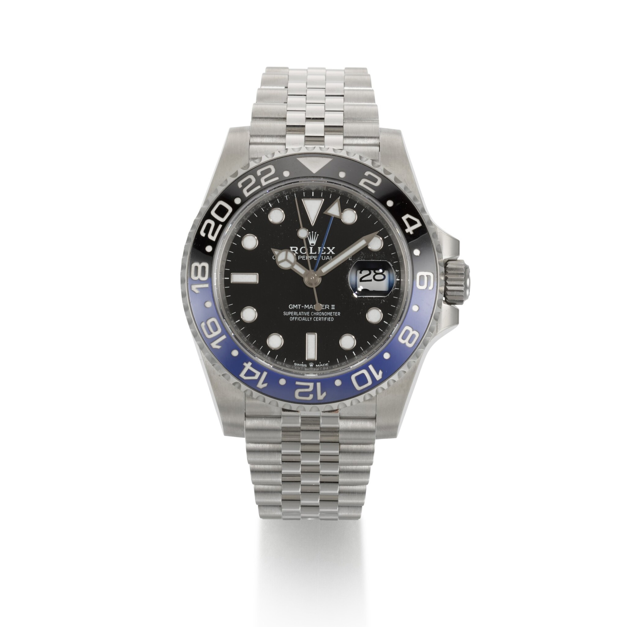 """View full screen - View 1 of Lot 357. ROLEX   GMT-MASTER """"BATGIRL"""", REF 126710BLNR, STAINLESS STEEL DUAL-TIME WRISTWATCH WITH DATE AND BRACELET, CIRCA 2019."""