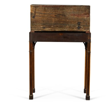View 4. Thumbnail of Lot 246. An Anglo-Indian rosewood and ivory inlaid table bureau on a mahogany and fruitwood stand by Thomas Chippendale, the bureau, Vizagapatam, circa 1740-50, the stand, London, 1767.