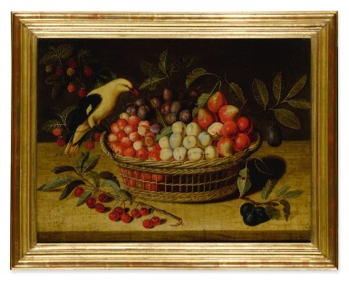 View 2. Thumbnail of Lot 638. Still life with cherries, plums, raspberries and other fruits in a basket, with a yellow bird.