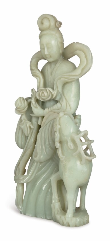 View 4. Thumbnail of Lot 1174. A CELADON JADE 'MAGU' GROUP, LATE QING DYNASTY / 20TH CENTURY.
