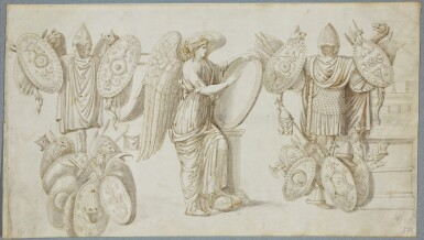 ITALIAN SCHOOL 18TH CENTURY | An allegorical figure between coats of arms and trophies, after the Antique