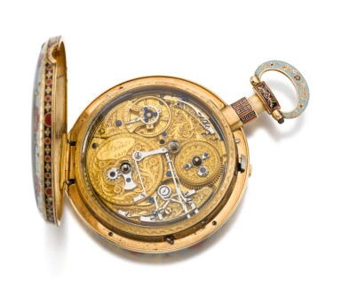 View 3. Thumbnail of Lot 232. BOVET   A LARGE GOLD AND ENAMEL QUARTER REPEATING MUSICAL OPEN-FACED WATCH MADE FOR THE CHINESE MARKET   CIRCA 1820 NO. 9819.