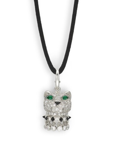 View 1. Thumbnail of Lot 1703. CARTIER    'PANTHÈRE' DIAMOND, EMERALD AND ONYX PENDENT NECKLACE   卡地亞   'Panthère' 鑽石 配 祖母綠 及 縞瑪瑙 項鏈.
