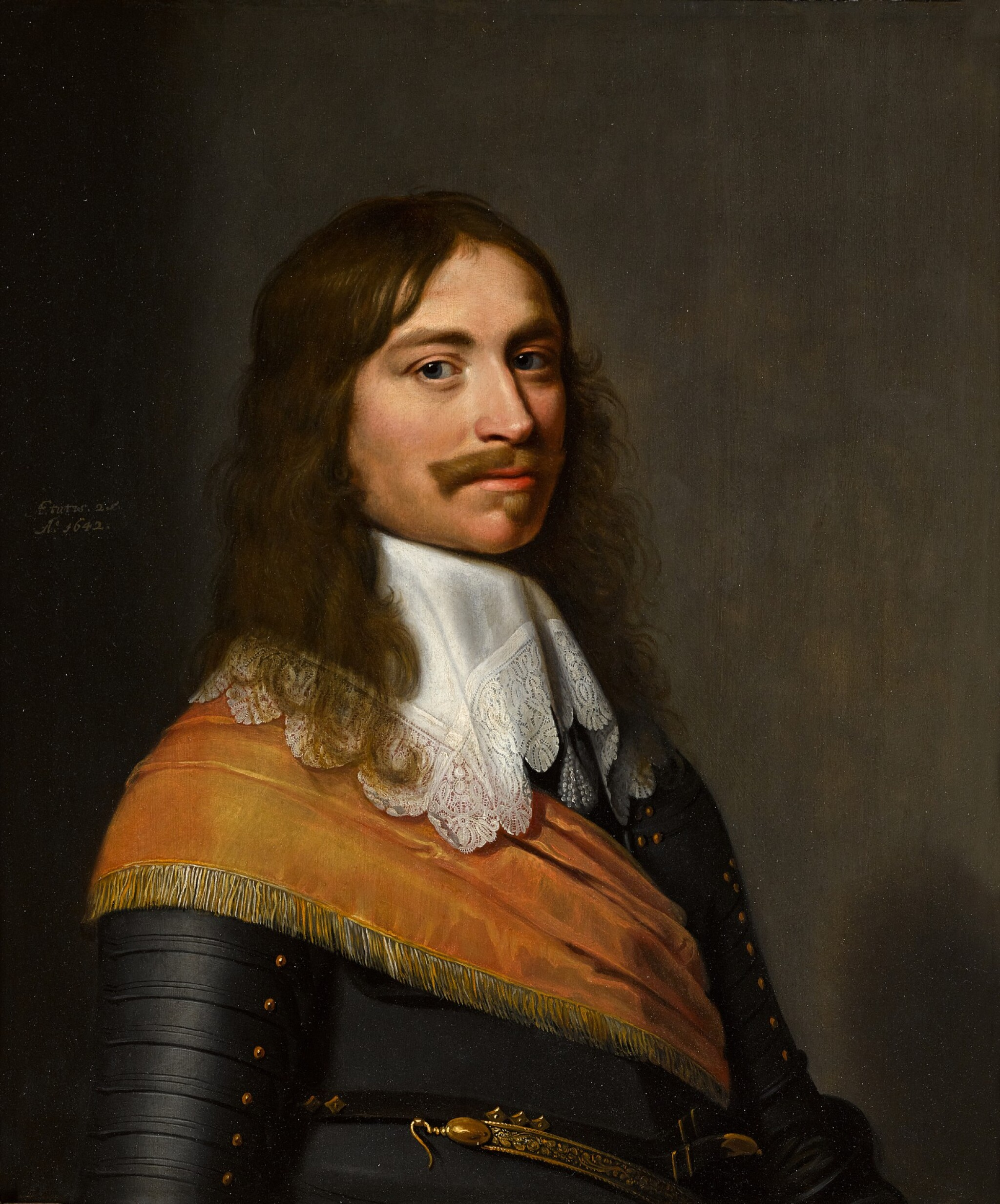 View full screen - View 1 of Lot 29. JACOB WILLEMSZ. DELFF THE YOUNGER  |  PORTRAIT OF MICHIEL PAUW (1617–1658), HALF-LENGTH, IN ARMOUR, A SASH AND A WHITE COLLAR.