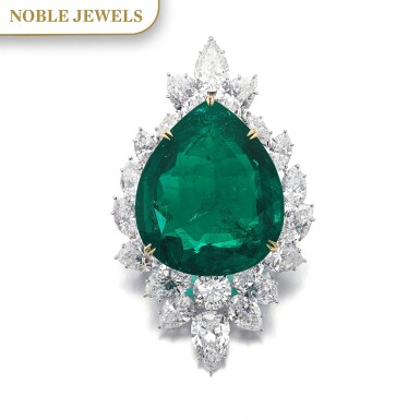 View 1. Thumbnail of Lot 177.  Harry Winston   Very Important Emerald and diamond brooch/pendant combination, circa 1970   海瑞溫斯頓   祖母綠配鑽石別針/吊墜組合,約1970年.