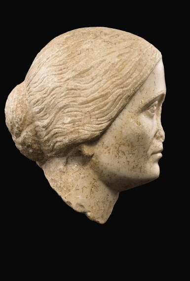 View 3. Thumbnail of Lot 47. A ROMAN MARBLE PORTRAIT HEAD OF A WOMAN, ANTONINE, 3RD QUARTER OF THE 2ND CENTURY A.D..