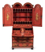 A GEORGE III RED JAPANNED BUREAU CABINET, SECOND QUARTER 18TH CENTURY
