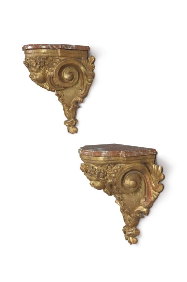 View 2. Thumbnail of Lot 717. A PAIR OF RÉGENCE GILTWOOD BRACKETS, EARLY 18TH CENTURY.