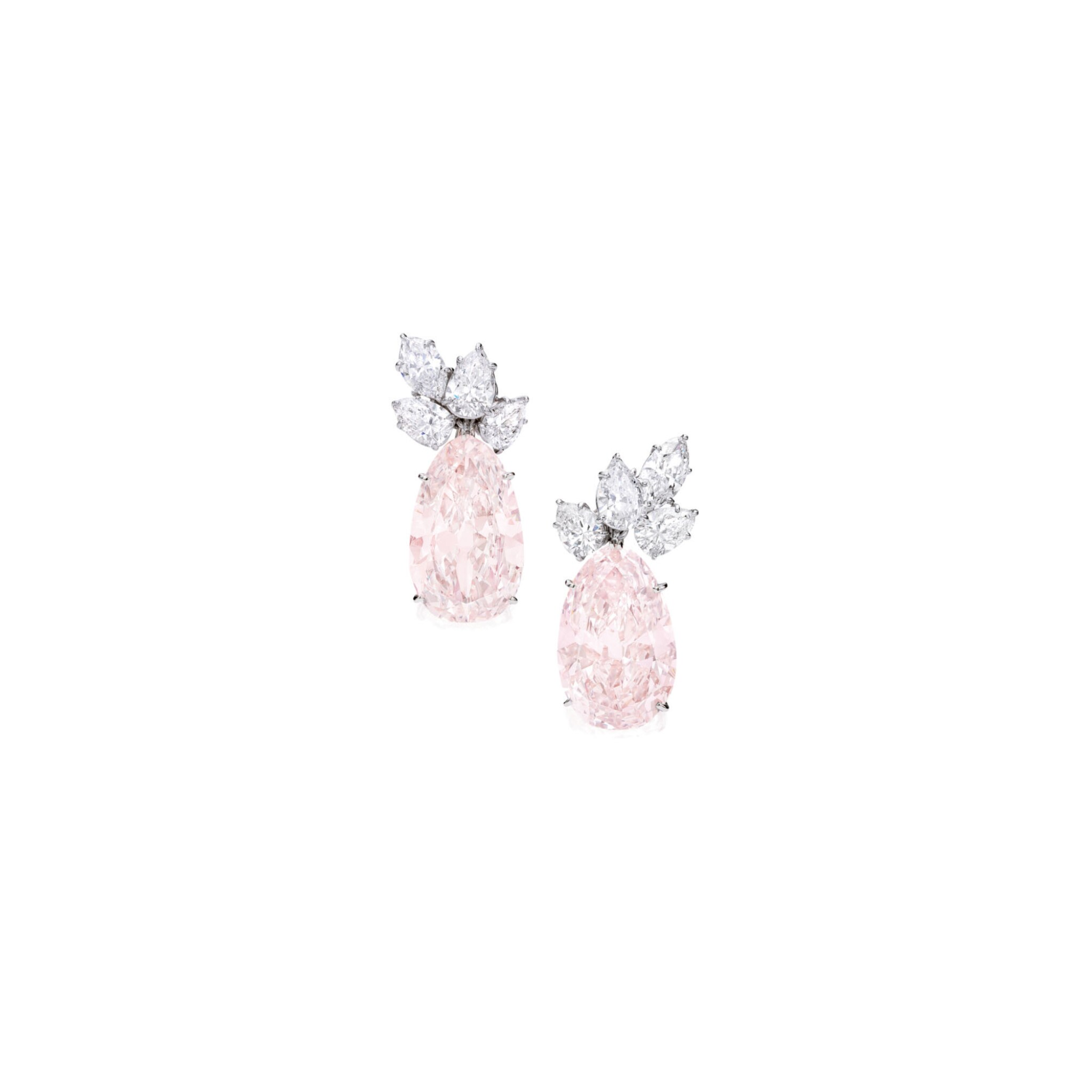 View 1 of Lot 481. PAIR OF FANCY LIGHT BROWN-PINK AND DIAMOND EARCLIPS, HARRY WINSTON | 淡彩棕粉紅色鑽石配鑽石耳環一對,海瑞溫斯頓.