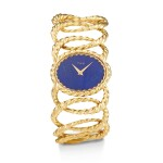 PIAGET | REFERENCE 9850 D65, A YELLOW GOLD BRACELET WATCH WITH LAPIS LAZULI DIAL, CIRCA 1970