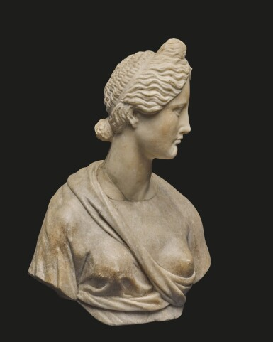 View 2. Thumbnail of Lot 32. AN ITALIAN MARBLE BUST OF A GODDESS, AFTER THE ANTIQUE, 16TH/17TH CENTURY.