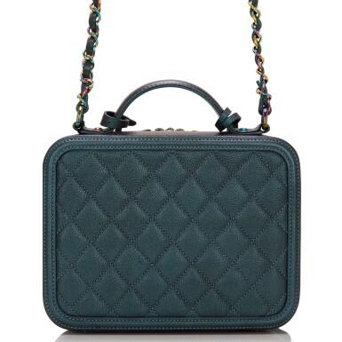 View 4. Thumbnail of Lot 119. Chanel Dark Turquoise Medium Filigree Vanity Case of Grained Metallic Lambskin Leather with Iridescent Hardware.