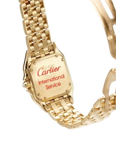 View 3. Thumbnail of Lot 8091. CARTIER   PANTHÈRE, REFERENCE 8057915   A YELLOW GOLD AND DIAMOND-SET WRISTWATCH WITH BRACELET, CIRCA 2010   卡地亞   Panthère 型號8057915    黃金鑲鑽石鏈帶腕錶,約2010年製.