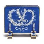 A MINTONS PÂTE-SUR-PÂTE PEACOCK-BLUE-GROUND COMMEMORATIVE PAPERWEIGHT 1878