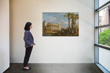 View 3. Thumbnail of Lot 176. Architectural capriccio with ruins and the Colosseum.
