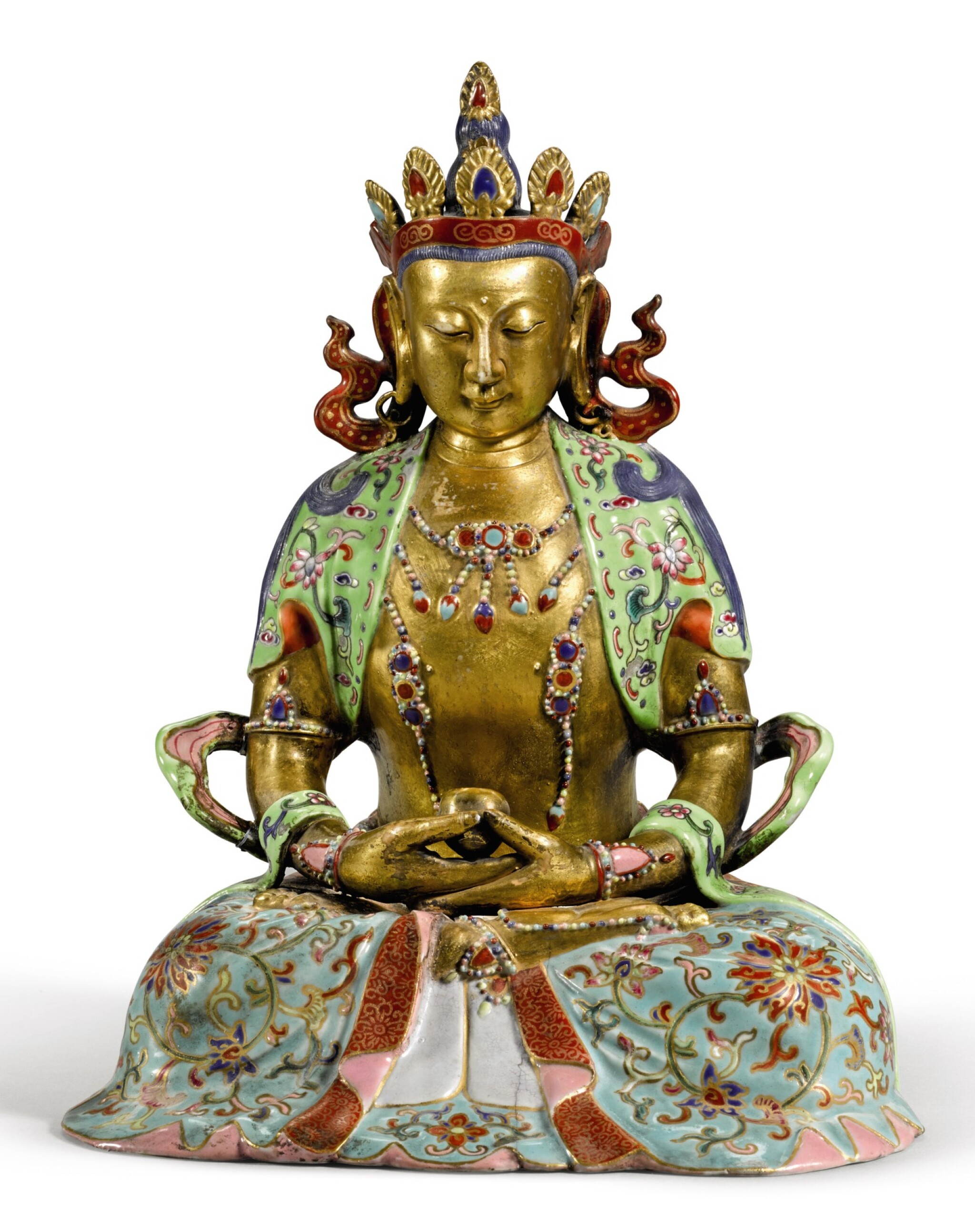 View full screen - View 1 of Lot 263. A FAMILLE-ROSE AND GILT FIGURE OF AMITAYUS | 粉彩描金無量壽佛坐像.
