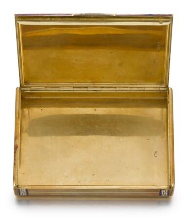 View 3. Thumbnail of Lot 46. A Fabergé jewelled gold and champlevé enamel cigarette case, workmaster Henrik Wigström, St Petersburg, 1908-1917.