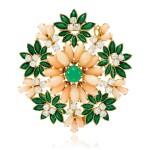 Coral, enamel, chrysoprase and diamond brooch, 1960s