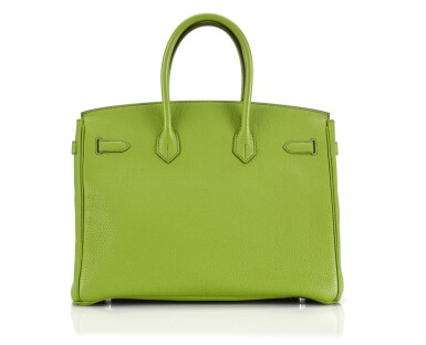 View 2. Thumbnail of Lot 10. BIRKIN 35 VERT ANIS COLOUR IN TOGO LEATHER WITH PALLADIUM HARDWARE. HERMÈS, 2011 .