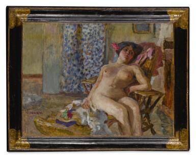 View 2. Thumbnail of Lot 41. Nu assis, Fleurs dans les cheveux (Étude de nu).