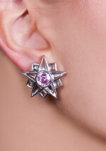 Pair of kunzite and blue topaz ear clips, 'Star', Michele della Valle