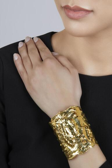 View 2. Thumbnail of Lot 115. Van Cleef & Arpels   Gold 'Manchette' Cuff-Bracelet.