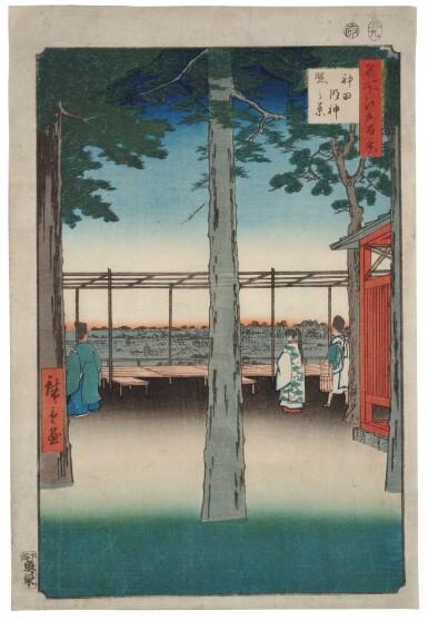 UTAGAWA HIROSHIGE I (1797–1858), EDO PERIOD, 19TH CENTURY | FOUR PRINTS FROM THE SERIES ONE HUNDRED FAMOUS VIEWS OF EDO (MEISHO EDO HYAKKEI)