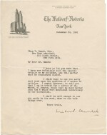 "Winston S. Churchill   Typed letter signed (""Winston Churchill"") to Than von Ranck, 24 December 1931"