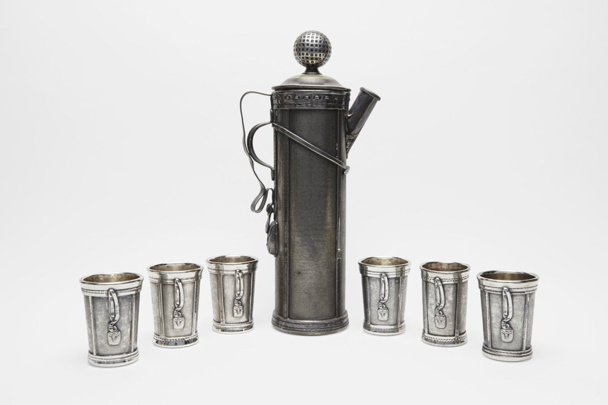 View 1 of Lot 29.  AN AMERICAN SILVER-PLATED GOLF-THEMED COCKTAIL SET .