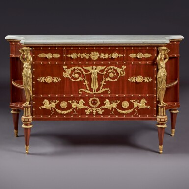 View 1. Thumbnail of Lot 127. A LATE LOUIS XVI GILT BRONZE-MOUNTED MAHOGANY COMMODE, AFTER A DESIGN BY PERCIER AND FONTAINE, CIRCA 1790-95.