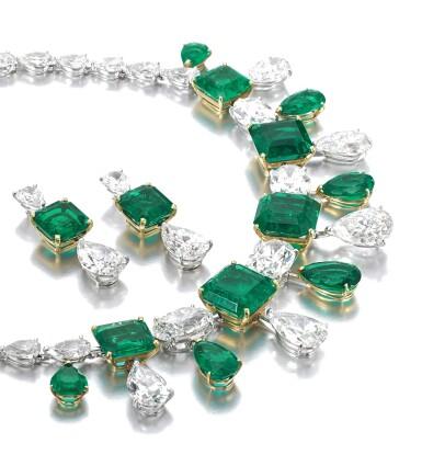 View 2. Thumbnail of Lot 167.  Moussaieff | Impressive emerald and diamond demi-parure | Moussaieff | 祖母綠配鑽石首飾套裝.
