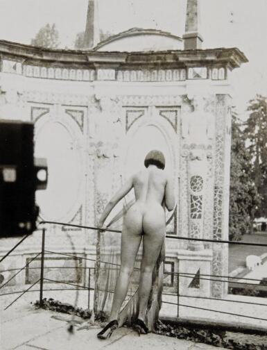 HELMUT NEWTON   'VIEW AT THE VILLA D'ESTE', LAKE COMO, C.1980