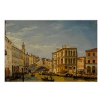 IPPOLITO CAFFI | VENICE, A VIEW OF THE GRAND CANAL WITH THE RIALTO BRIDGE AND THE PALAZZO DEI CAMERLENGHI