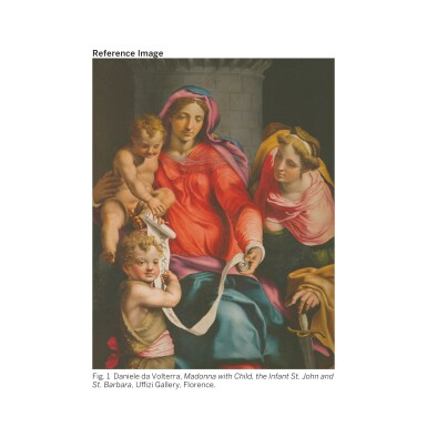 View 2. Thumbnail of Lot 118. ATTRIBUTED TO DANIELE RICCIARELLI, CALLED DA VOLTERRA   THE HOLY FAMILY WITH THE YOUNG SAINT JOHN THE BAPTIST AND SAINT CHRISTINE.