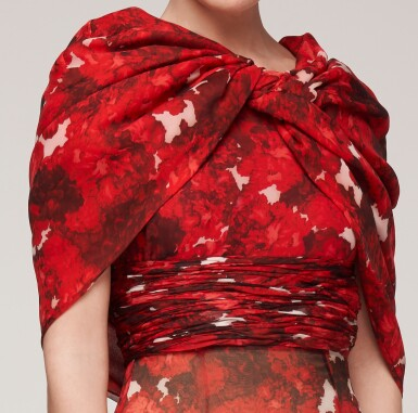 View 4. Thumbnail of Lot 37. Haute Couture Floral Printed Silk Chiffon and Gazar Evening Gown.
