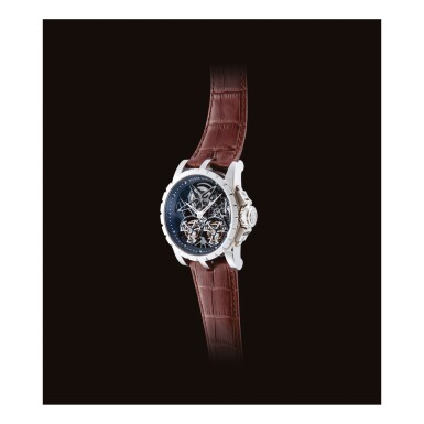 """View 2. Thumbnail of Lot 2021. ROGER DUBUIS     EXCALIBUR, REFERENCE RDDBEX0396  A LIMITED EDITION WHITE GOLD DOUBLE FLYING TOURBILLON SKELETONISED WRISTWATCH, CIRCA 2015   羅杰杜彼    """"Excalibur 型號RDDBEX0396  限量版白金雙重飛行陀飛輪鏤空腕錶,錶殼編號85780及57/88,約2015年製""""."""
