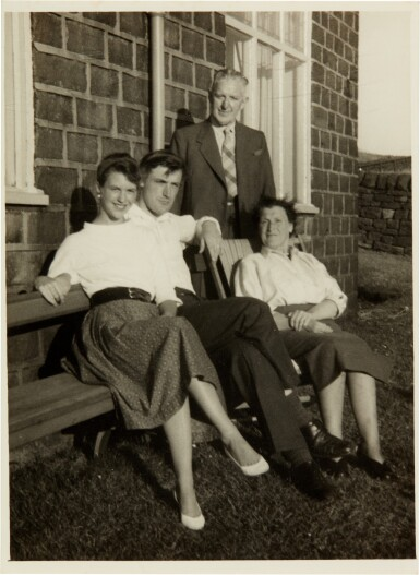 View 3. Thumbnail of Lot 5. Sylvia Plath and Ted Hughes   Collection of six photographs with the Hughes family in Yorkshire, September 1956.