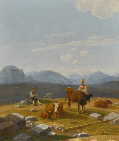 View 1. Thumbnail of Lot 39. Auf der Alm (On the Alpine Pasture).