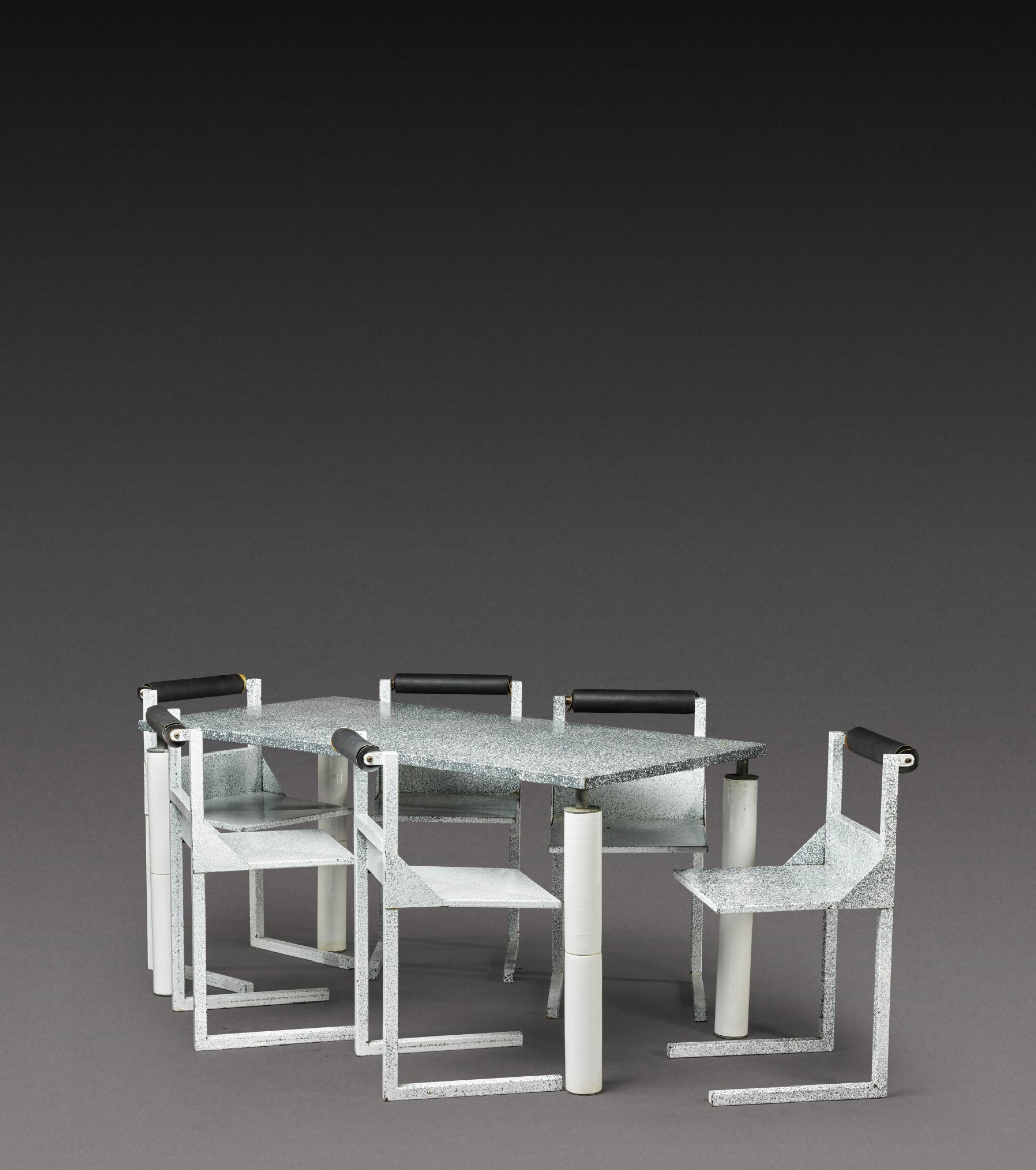 View 1 of Lot 186. Dining set comprising one table and six chairs.