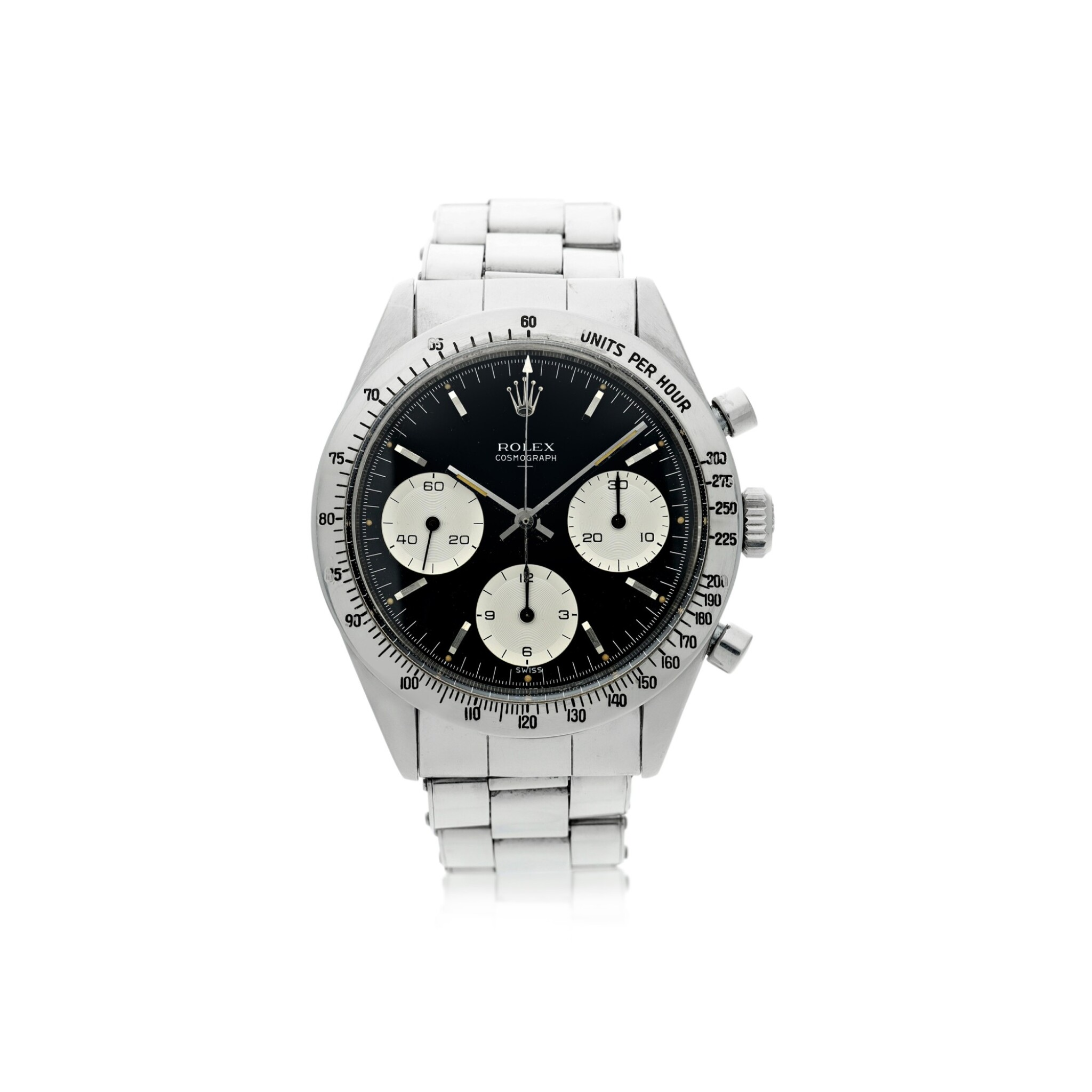 View full screen - View 1 of Lot 1. ROLEX | REFERENCE 6239 'DOUBLE SWISS UNDERLINE' DAYTONA   A STAINLESS STEEL CHRONOGRAPH WRISTWATCH WITH REGISTERS, CIRCA 1963.