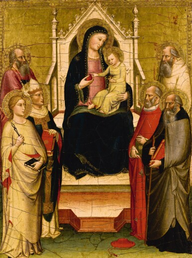 MARIOTTO DI NARDO | The Madonna and Child enthroned with Saints Apollonia, Anthony Abbot, Gregory the Great, Jerome, Paul [?], and Benedict | 馬里奧托・迪・納多 | 《聖母聖嬰登位,聖亞波羅尼亞、聖安東尼、聖額我略一世、聖傑羅姆、聖保羅[?]與聖本篤在旁》