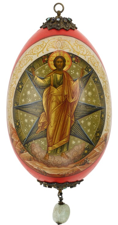 View 2. Thumbnail of Lot 501. A RARE JEWELLED LACQUER EASTER EGG WITH SCENES OF THE TRANSFIGURATION, NIKOLAI EMILIANOV, PROBABLY MOSCOW, 1913.