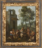 PAOLO MONALDI | A landscape with peasants sitting and drinking by a ruined house