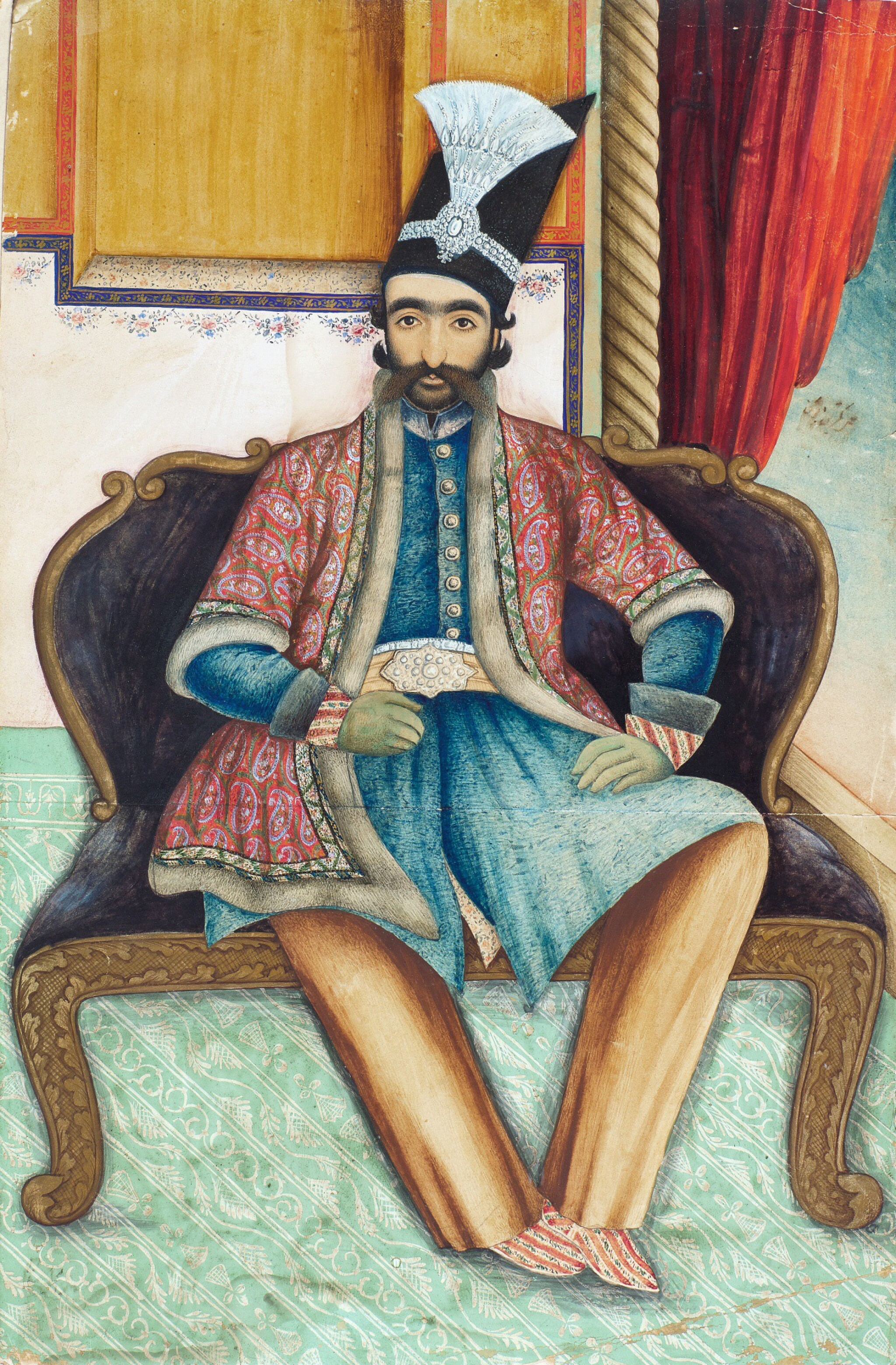 View full screen - View 1 of Lot 64. A PORTRAIT OF NASIR AL-DIN SHAH QAJAR (R.1848-96), PERSIA, QAJAR, SECOND HALF 19TH CENTURY.