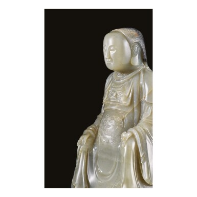 View 4. Thumbnail of Lot 646. AN EXTREMELY RARE CARVED GREY JADE FIGURE OF ZHENWU, MING DYNASTY, HONGZHI PERIOD, DATED TO THE EIGHTH YEAR, CORRESPONDING TO 1495.