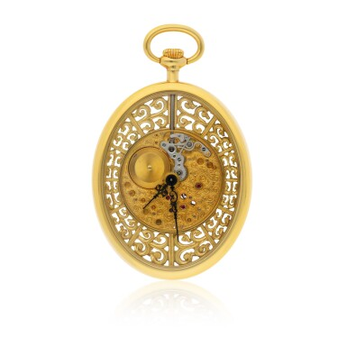 View 1. Thumbnail of Lot 84. JAEGER-LECOULTRE | A FINE YELLOW GOLD OVAL SKELETONIZED OPEN FACED WATCH CIRCA 1997.