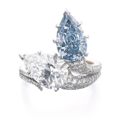 View 1. Thumbnail of Lot 340. IMPORTANT FANCY INTENSE BLUE DIAMOND RING, 'DUET', SOTHEBY'S DIAMONDS.