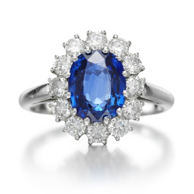 View 1. Thumbnail of Lot 127. CARTIER   SAPPHIRE AND DIAMOND RING .
